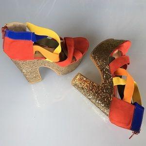 2/$29 Gold glitter strappy platform heels